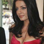 Celina Jaitley cleavage show red dress
