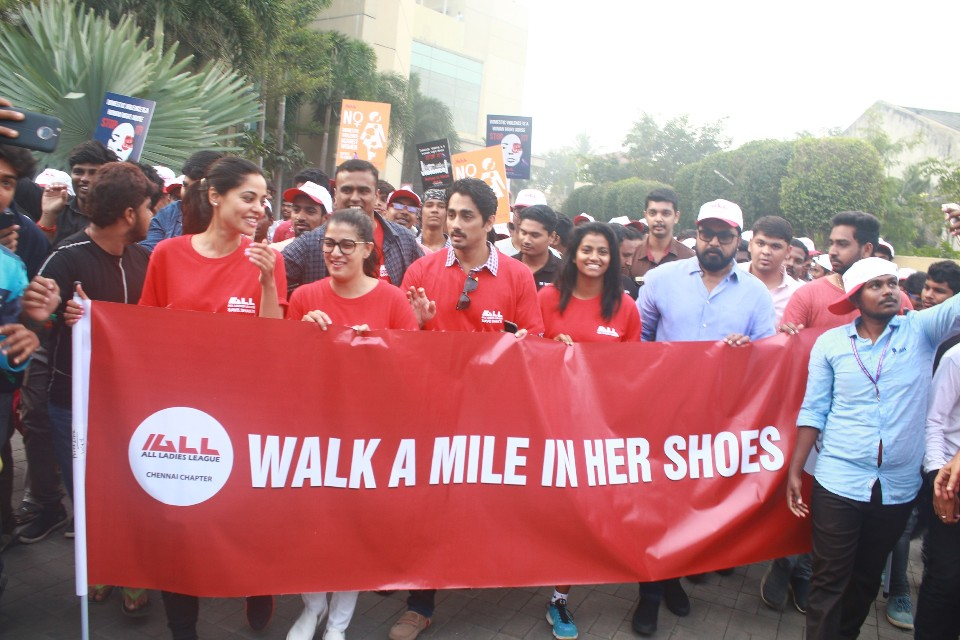 walk a mile in her shoes event stills 05 Actress Varalakshmi Against Domestic Violence
