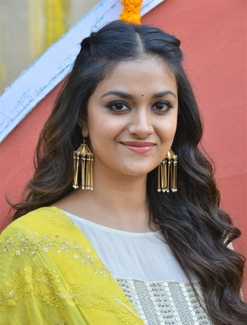Actress Keerthi Suresh In Yellow Chudi